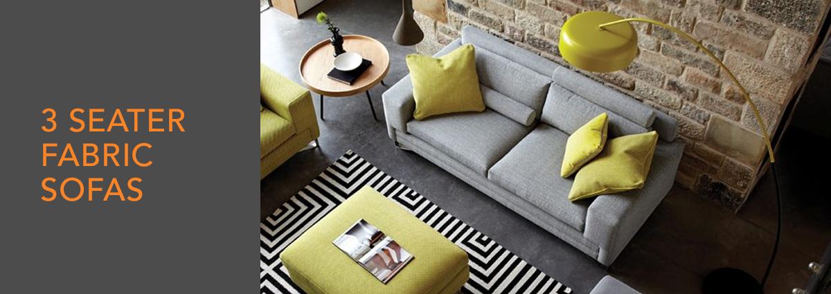 WL dept banner 3 seater fabric sofas
