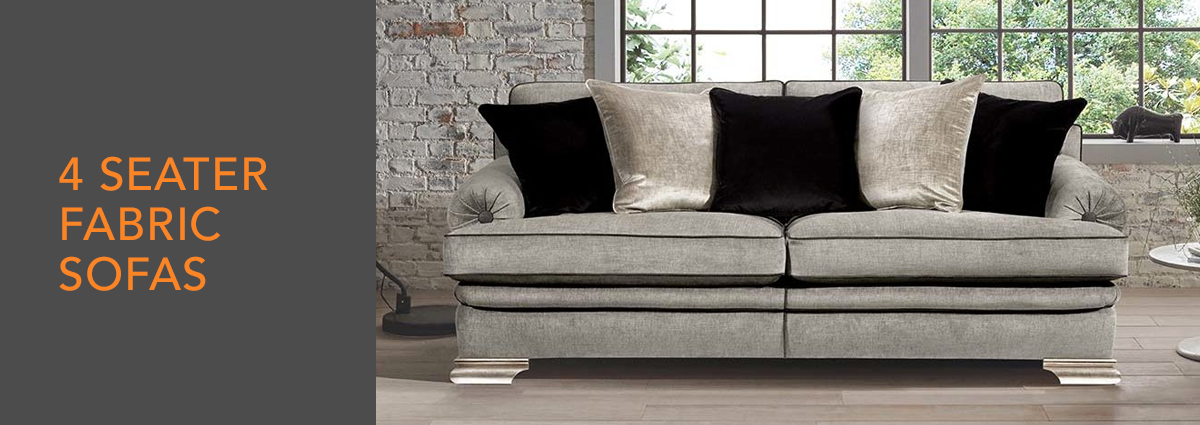 WL dept banner fabric 4 seater sofas