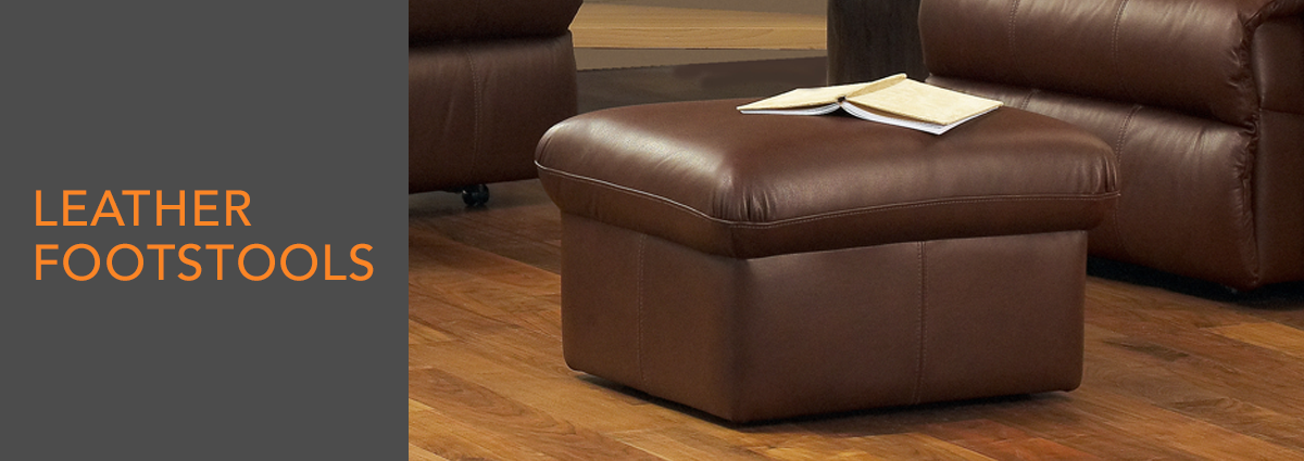 WL dept banner leather footstools